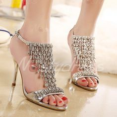 Graceful Rhinestones and Fringe Design Women's Sandals