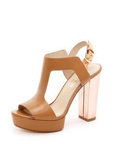 totally in love...  KORS Michael Kors. Vernon Platform Sandal. Color: Peanut.