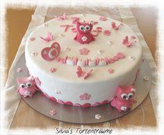 Silvia's Tortenträume: Tauftorte Torte Taufe Fondant Motivtorte Eulen Schnuller Kuchen Torte Cake Schnullerkette Giotto-Sahne rosa pink  Rezept & Infos zur Torte: https://www.facebook.com/SilviasTortentraeume/posts/810493289051661