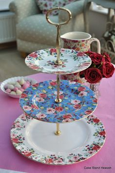 Royal Albert Rosa Pattern New Three Tiered Cake Stand -   Nice. So for my baby's 3rd birthday, I'm thinking of a tea party. I'd love to have a tiered pastry stand. But it has to be from Royal Albert. OH my! These Rosa plates will match my teacup and saucer! I'm hypnotized.