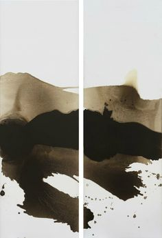 Mao Lizi (b. 1950), Reconstructed Landscape Series No. 7 and No. 8, 2015. Oil on canvas. H. 65 x W. 195 cm each. Courtesy of Pékin Fine Arts.