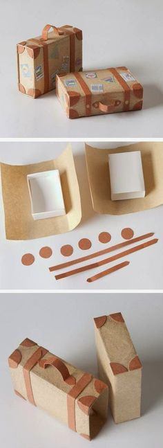 Creative DIY Gift Wrap Tutorials - Suitcase gift box you can make yourself, what a fun idea for travel-related gifts! Creative Gift Wrapping, Creative Gifts, Wrapping Ideas, Wrapping Papers, Wrapping Gifts, Creative Box, Japanese Gift Wrapping, Gift Wrapping Tutorial, Diy Wrapping Paper
