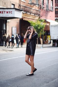 Danielle in a leather shirt dress. NYC #WeWoreWhat