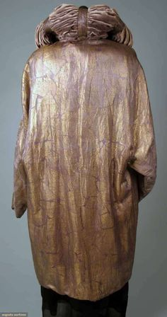 Lilac silk w/ all-over large reptile pattern, pale lilac silk velvet lining & ruched collar,