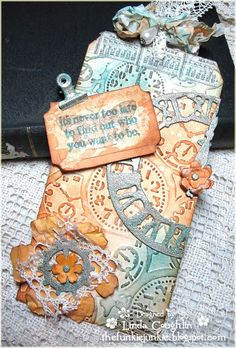 Uses Tim Holtz dies and ideology pieces from The Funkie Junkie: Wishing You All the Best in 2013