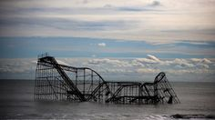 Roller Coaster Adrift in the Atlantic A roller coaster sits in the Atlantic Ocean after the Fun Town pier it sat on was destroyed by Hurricane Sandy on Nov. 1, 2012 in Seaside Heights, N.J. The roller coaster was removed by crane in May. IMAGE: MARK WILSON/GETTY IMAGES