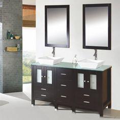 Kokols Caius Double Bathroom Vanity Set with Mirror Vanity Set With Mirror, Wood Vanity, Vanity Cabinet, Granite Bathroom, Bathroom Cabinets, Bathroom Furniture, Luxury Bathroom Vanities, Master Bathroom Vanity, Dark Cabinets