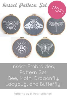 All the insects, please! This listing is for a set of DIY pattern for modern embroidery - including my bee, butterfly, dragonfly, moth, and ladybug patterns! All together they make a lovely set! File contains: *Bee, Ladybug, Moth, Dragonfly, and Butterfly embroidery patterns in printable format *