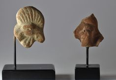 Roman rooster pottery heads, 1st-3rd century A.D. Roman Egyptian pottery rooster heads, 6.2 cm high max. Private collection