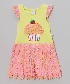 Sam and Sydney Lime Green & Pink Cupcake Ruffle Dress - Toddler & Girls | zulily