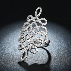 Platinum Plated CZ Cocktail Ring
