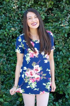 Short Sleeve Floral Print Top #iHeartDSP #floral #spring #trendy #stylish #navy #girly #DSP