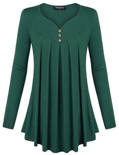 Miagooo Womens Long Sleeve Scoop Neck Pleated Front A Line Flare Hem Tunic Tops