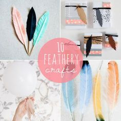 Feather #Crafts #DIY  There's a kids craft that could be cute for MOPPETS as well as a boutonniere that could be a craft for nametags!