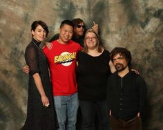 Let me get this straight!! Daryl of Walking Dead photobombed Cersei and Tyrion of Game of Thrones who were taking a photo with a fan wearing a Bazinga T-shirt!! Talking about fandom collision!!! ;)