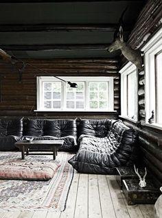 Ligne Roset Togo Sofa - Just The Design Cabin Interior Design, Interior And Exterior, House Design, Interior Ideas, Exterior Design, Cottage In The Woods, Cabins In The Woods, Ligne Roset Togo, Scandinavian Style
