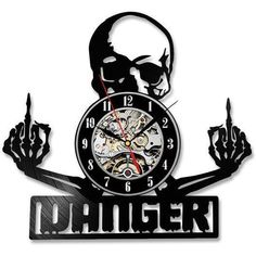 Skull Danger Record Vinyl Wall Art Clock - Skullflow    https://www.skullflow.com/collections/skull-wall-arts/products/skull-danger-record-vinyl-wall-art-clock