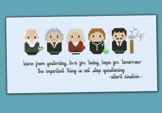 Charles Darwin, Albert Einstein, Isaac Newton, Marie Curie, and Nikola Tesla cross stitch.