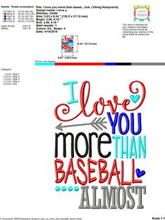 Embroidery design 5x7 6x10 I love you more than by SoCuteAppliques