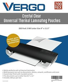 "Vergo 200 PACK Universal Thermal Laminating Pouches - 3 Mil Letter Size 9"" x 11.5"" Lamintor Sheets Crystal Clear"