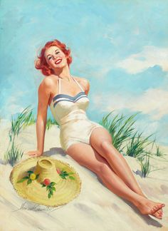 Redheaded Pinup Girl | Tattoo Ideas  Inspiration - Pinups | Howard Connolly - Redheaded pin-up girl relaxing on the beach.