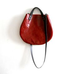 Leather basket hand bag ,Cross-body Bag -red