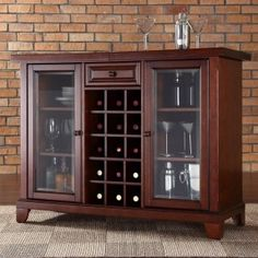 Serve your guests in style from this Crosley Newport sliding top bar cabinet. This easy-to-assemble bar cabinet features a sliding top bar cabinet, which expands to increase bar size. Wine Rack Furniture, Dining Furniture, Furniture Decor, Furniture Storage, House Furniture, Corner Wine Rack, Tempered Glass Door, Contemporary Bar, Glass Cabinet Doors