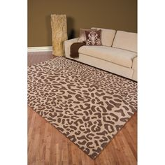 Hand-tufted Tan Leopard Whimsy Animal Print Wool Rug (10' x 14') | Overstock.com