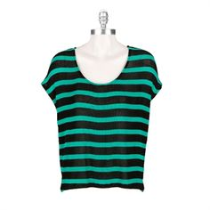 Red Haute Women's Contemporary High-Low Dolman Pullover #VonMaur #RedHaute #Black #Turquoise #Striped