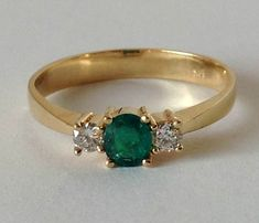 COLOMBIAN NATURAL AAA ROUND EMERALD & DIAMONDS SOLITAIRE RING 18K Y.G SIZE 8 | eBay #diamondsolitaire