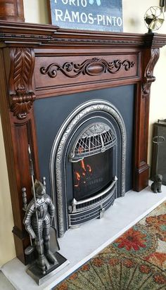 Best Absolutely Free Gas Fireplace victorian Thoughts There's only something better than the usual roaring fire on a wintry night: a roaring fire that n Wooden Fireplace, Victorian Fireplace, Small Fireplace, Fireplace Inserts, Fireplace Mantle, Fireplace Design, Fireplace Ideas, Free Gas, Ceramic Fiber