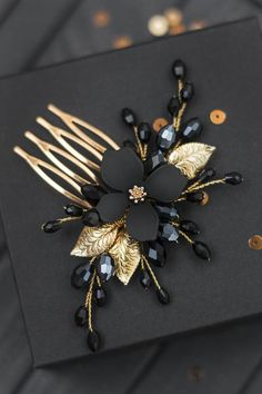 Black gold hair comb, Gold floral hair pieces, Total all black headpiece, Hair accessory for bridesmaid, Dark hairclip – Hair Accessories Diy 2020 Cute Jewelry, Hair Jewelry, Jewellery, Black Hair Comb, Hair Beads, Floral Hair, How To Make Earrings, Gold Hair, Hair Ornaments