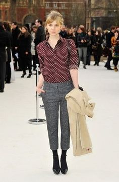 The Parisian Muse: Get some tips from Clemence Poesy • ADORENESS these pants are at ann taylor-i can get a polka dot blouse!
