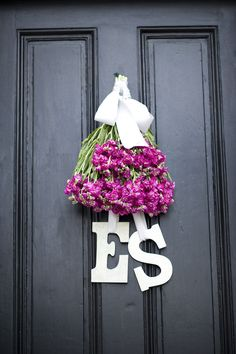 flowers hung upside down w/ letters attached to ribbon --make w/dried wheat with burlap tied/hung letters for fall