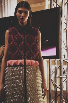 3D spoke embellishment backstage at Mary Katrantzou AW15 LFW. See more here: http://www.dazeddigital.com/fashion/article/23747/1/mary-katrantzou-livestream