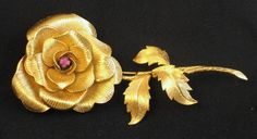 Signed Vendome Sterling Vermeil Rose Brooch