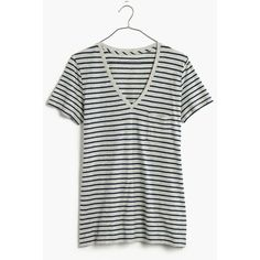 MADEWELL Whisper Cotton V-Neck Pocket Tee in Alhambra Stripe ($25) ❤ liked on Polyvore featuring tops, t-shirts, hthr steel, v neck pocket t shirts, white pocket t shirt, v neck t shirts, pocket tees and v neck tee