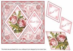 Pink Roses Thank You 7in Double Diamond Topper on Craftsuprint - Add To Basket!