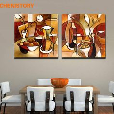 Unframed 2 Panel Handmade Flower Cup Set Abstract Modern Oil Painting On Canvas Home Decor For Kitchen Wall Art Picture Modern Oil Painting, Oil Painting On Canvas, Diy Painting, Canvas Home, Wall Canvas, Canvas Art, Types Of Art Styles, Art Decor, Room Decor