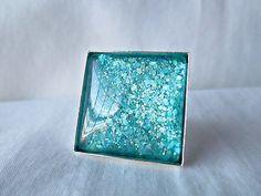 Aqua Green Glass Ring Handmade Glitter Nail by TheHowlingBoutique, $16.00  Follow my shop's board: http://www.pinterest.com/howlingboutique