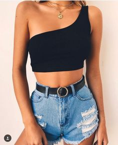Fashion Sexy Sling Vest from clothing - Trendy outfits - Crop Top Outfits, Mode Outfits, Trendy Outfits, Fashion Outfits, Fashion Trends, Black Crop Top Outfit, Fashion Ideas, Teenage Outfits, Hipster Outfits