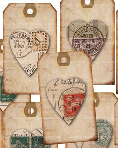 Gift Tags - Hearts on Vintage French Postcards - dcs 1163 - Digital Collage Sheet - Buy 3 Get 1 FREE. $3.99, via Etsy.