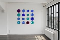 Modern Hand Blown Glass Wall Art. Customized Artwork for Corporate, Public and Healthcare Spaces. Blue and Violet Colors with Iridescence. by ALVITRADESIGN