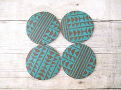 Leather Coasters, Tribal Coaster, Drink Coaster, Coaster Set, Tribal Home Decor, Modern Decor, Turquoise