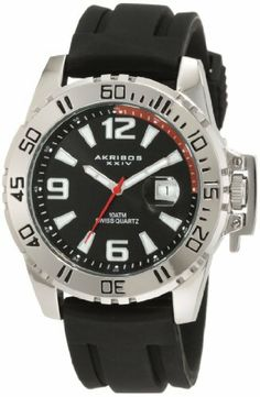 Akribos XXIV Men's AKR492BK Swiss Quartz Sport Watch Akribos XXIV. $61.95. This watch is water resistant to 330ft and comes complete with a 2 year manufacturer?s warranty.. Rotating bezel with latching crown guard makes this the perfect sports watch. This watch is powered by a precise swiss quartz movement. Sporty and comfortable black silicone strap. Large easy to read hour markers and numbers. Save 79% Off!