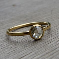 Delicate Rose Cut Moissanite and Recycled 18k Yellow Gold Ring.