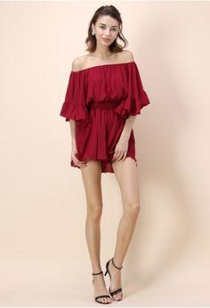 31d9c32f28 Frill Like Dancing Off-shoulder Playsuit in Wine Wine Dress