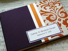Orange and Eggplant Wedding Guest Book $37 Custom Made