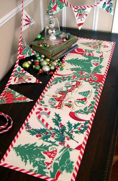 Vintage tablecloth runner - great idea for badly stained tablecloths
