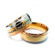 064effea65d96 Alianças 3 Cores de Ouro com Diamantes, encantadora aliança com 7  milímetros de largura em 20 gramas de ouro, feita em ouro amarelo branco e  rose, ...